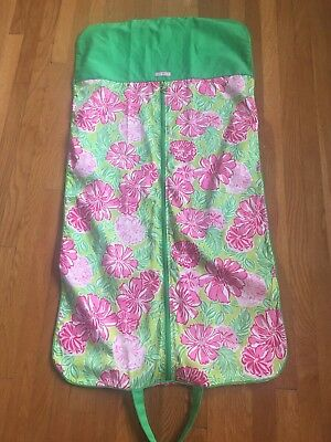 Lilly Pulitzer Garment Travel Bag 100% Cotton Pink Green Floral