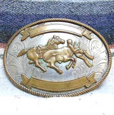 Vintage Justin Nickel Silver Bulldogger Trophy Belt Buckle Very Good Condition