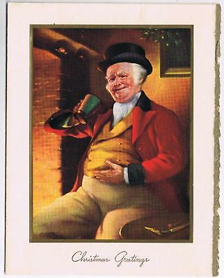 Vintage Hallmark Christmas Card Portly Victorian Man Drinking Paste On Canada