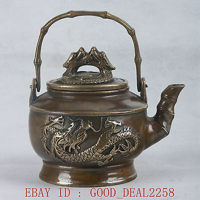 Chinese Copper Handwork Carved  Dragon Teapot HT071