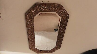Large Antique Art Deco Beveled Glass Mirror Within An Ornate Brass Frame