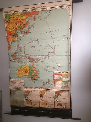 VINTAGE Pull Down School Map 1940's Australia And The Far East Atwood Regional