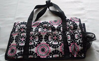 Thirty One Organizing Small Utility Tote Bag Medallion Pink and Black