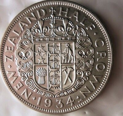 1934 NEW ZEALAND 1/2 CROWN -  AU Collectible Silver Coin- LOT #918