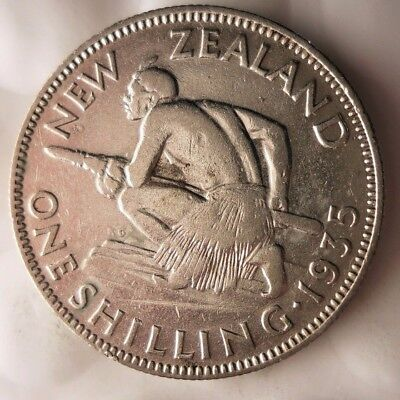 1935 NEW ZEALAND SHILLING - AU - HIGH VALUE Collectible Silver Coin - LOT #918