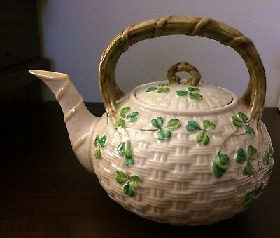 BELLEEK SHAMROCK 3rd BLACK MARK KETTLE