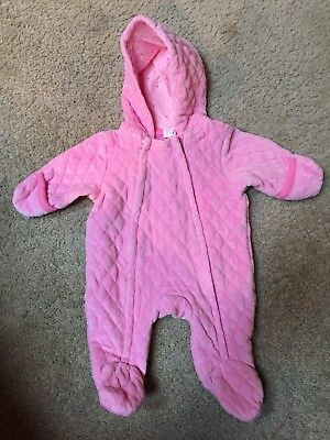 Newborn Pink Hooded Bunting Velvety Snowsuit Infant cuffs mittens warm
