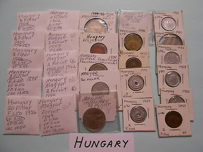 World Coin Lot:  225 Foreign Coins from Hungary