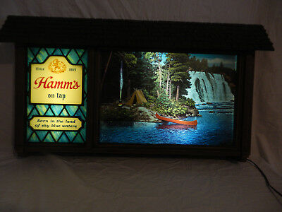 Vintage Hamm's Beer Scene-O-Rama Motion Scrolling Lighted Sign-Nice!