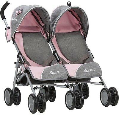 Baby Doll Stroller Silver Cross Pop Twin Dolls Pushchair Fabric Children's Toy