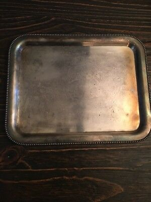 "VINTAGE ORNATE BARBOUR CO NICKEL SILVER RECTANGULAR TRAY 14"" x 11 1/2"""