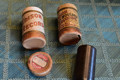 Antique Thomas Edison Moulded Records phonograph cylinder and boxes - Lot of 3