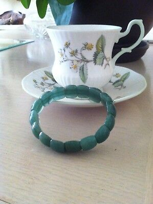 Bracelets of Jade, Aqua and Teal.  Both are an Oriental Find! Both for sale.