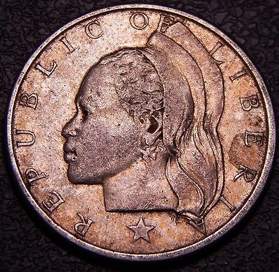Liberia 1961 25 Cents, Very High Grade w/ toning; Nice Silver Coin!