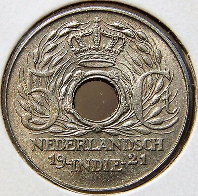 *Rare* UNC Netherlands East Indies (Indonesia) 1921 5 Cents, Nice Holed Coin!