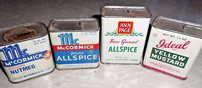 4 Vtg Spice Tins 2 Empty 2 Nearly Full McCormick Ann Page Ideal Brands