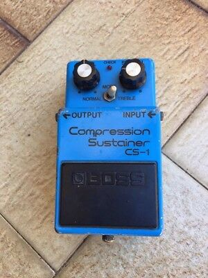 Boss CS-1, Compression Sustainer, Made In Japan, 1981, Long Dash, Silver Screw