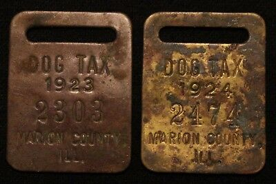 Vintage Dog License Tag Tax 1923 1924 Brass Marion Co Illinois #2474 & 2303