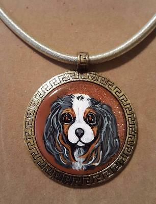 NATURAL STONE PENDANT IN GOLD SETTING-Hand Painted Cavalier King Charles