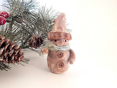 Snowman Figurine Vintage Hand Crafted Ceramic Whimsical Snowman