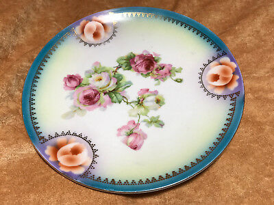 """Made in Thuringia Rose Pattern 7 1/2"""" Plate"""