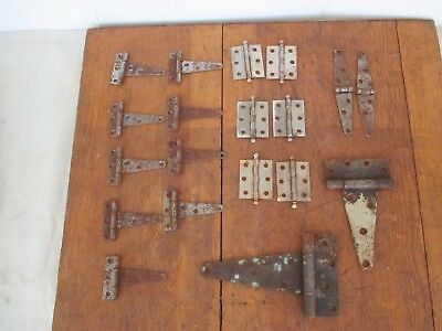 Lot of 21 Rustic Barn Door Gate  Assorted Strap Hinges Old Hardware Rusty