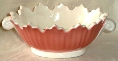 Fitz & Floyd Candy Dish Nut Bowl Pink White 1976