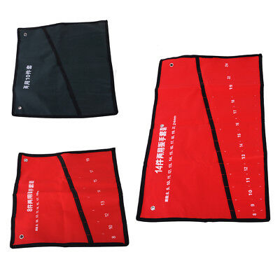 Canvas Roll Up Tools Storage Bag 8/10/14 Pocket Spanner Wrench Organizer Pouch