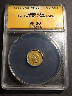 1855-C Indian Princess Gold Dollar $1 ANACS VF 30 Details looks better