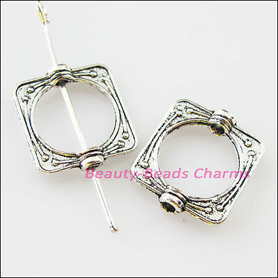 18Pcs Tibetan Silver Square Circle Spacer Frame Beads Charms 14x15.5mm