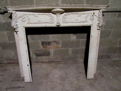 ~ Antique Carved Oak French Rococo Style Fireplace Mantel ~ 60 X 50 ~ Salvage