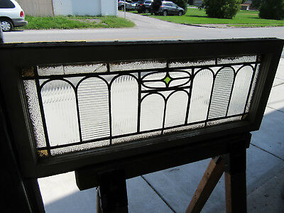 Antique American Stained Glass Transom Window ~ 38 X 16 ~ Architectural Salvage