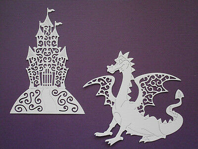 Dragon & Castle Die Cuts x 4 each - made from Paper - Scrapbooking Card Topper