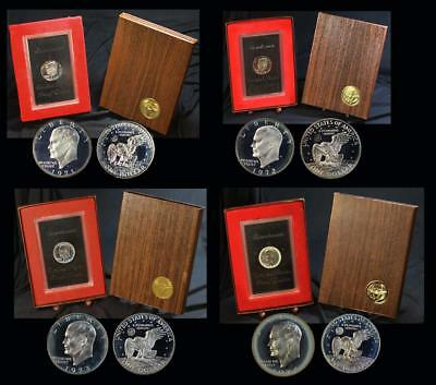 4 Pc Lot 40% Silver Proof Brown Ike Dollars 1971-1972-1973-1974-OGP Brown Box