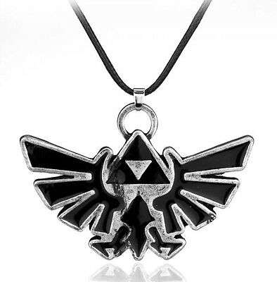 "Legend Of Zelda Triforce Necklace Pendant Charm Black 2"" US Seller"