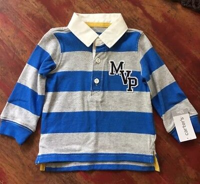 New Carter's Toddler boy Long Sleeve T-shirt With collar, Size 12 Months, NWT