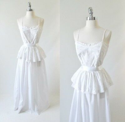 Vintage 70's 80's White Eyelet Lace Peplum Country Prarie Dress Long Gown XS