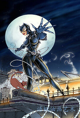 HD Print Oil Painting Wall Art on Canvas J233.Catwoman on rooftop 12x18 Unframed