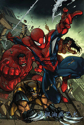 HD Print Oil Painting Wall Art on Canvas J386.Spider Man 12x18inch Unframed
