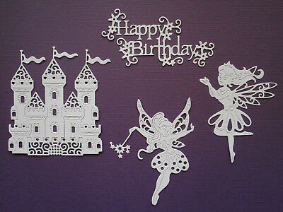 Fairy Castle & Happy Birthday Die Cuts x 2 each - made from Paper - Card Topper