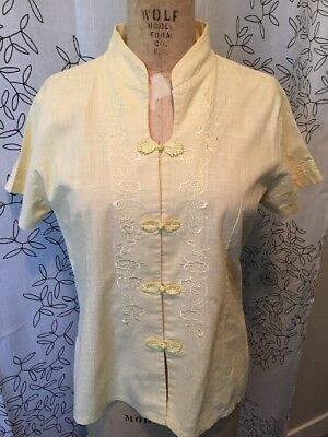 Newnoble Linen Vintage Ladies Blouse Chinese Style Closures Embroidered Yellow