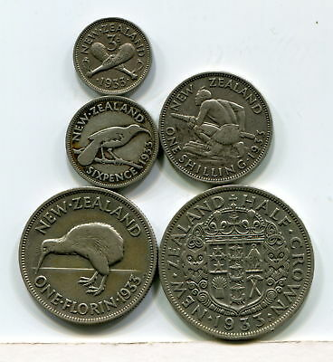 New Zealand, 1933 First Year Set - All Denominations & Complete (5 Silver Coins)