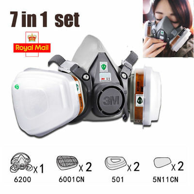 7 in 1 3M Suit Spray Paint Dust Mask Vapour Particulate Reusable Respirator UK