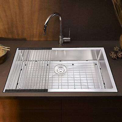 "Kitchen Sink 33""x18"" Stainless Steel Laundry Grid Strainer Undermount Farmhouse"