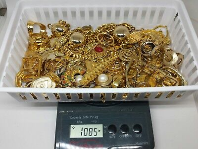 Nice Scrap Gold Plated Jewelry Lot 1000+ Grams Repair Repurpose Gold Recovery