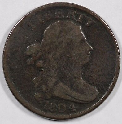 1804 1/2c Plain 4 With Stems Draped Bust Half Cent UNSLABBED