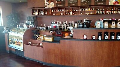 Over 60' of Beautiful Coffee Shop Cabinets, Shelves & Countertops