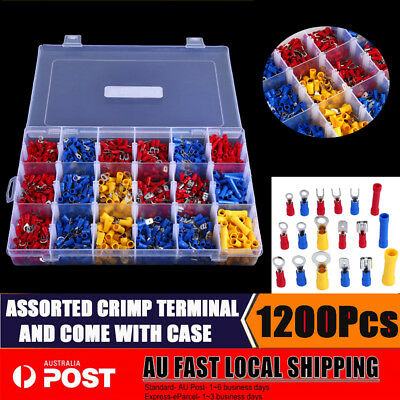1200pcs Assorted Insulated Crimp Terminals Spade Electrical Wire Connectors BBY
