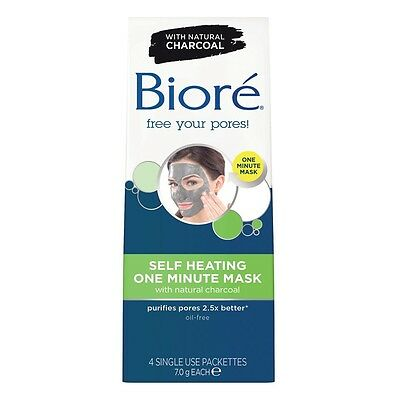 2 x Biore Self Heating One Minute Mask with CHARCOAL (4 Single Use Sachets)