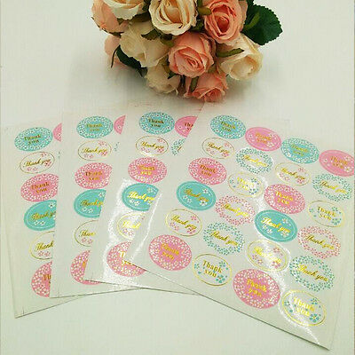 120Pcs Gold 'Thank You' Adhesive Sticker Paper DIY Craft Business Seals Label